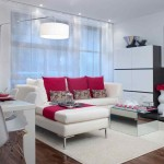 A white and red modern living room