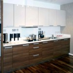 A white and dark wood modern kitchen